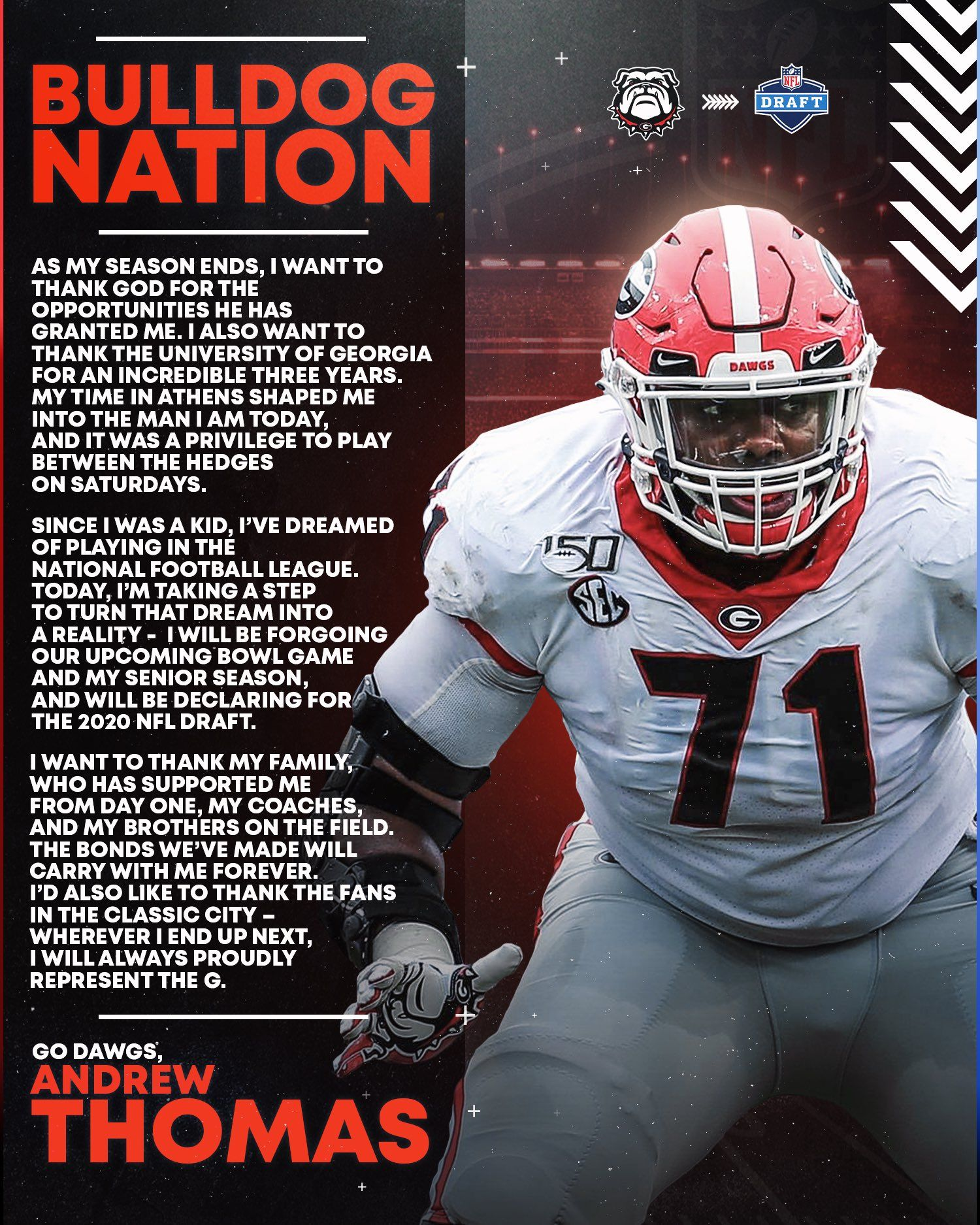 Breaking andrew thomas declares for the nfl draft in 2020