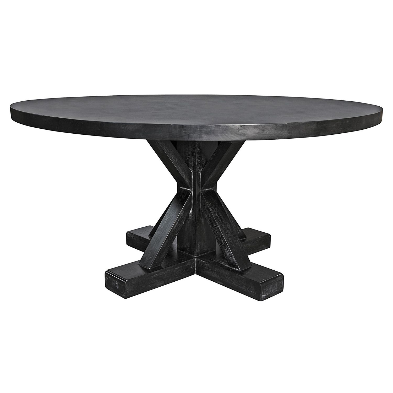 Noir Criss Cross Hand Rubbed Black Dining Table LaylaGrayce