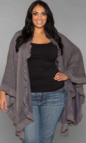 Ruffel Knit Pancho 49 90 By Swak Designs Plus Size