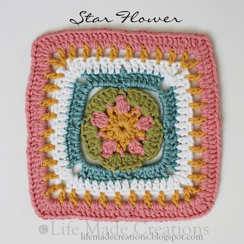 Life Made Creations: a slew of grannies! Star Flower Granny Square ...
