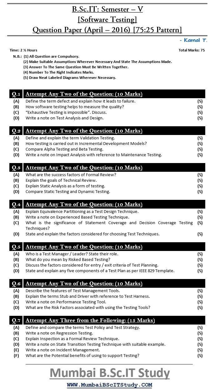 mumbai university bscit semester v software testing 7525 pattern question paper april 2016