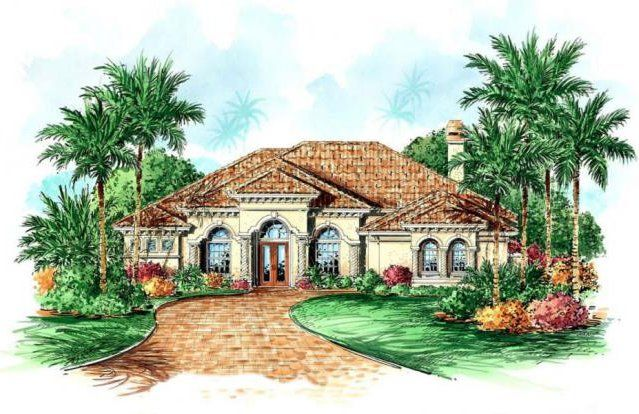 one story homes lovely one story mediterranean single family home plan - Single Family Home Designs