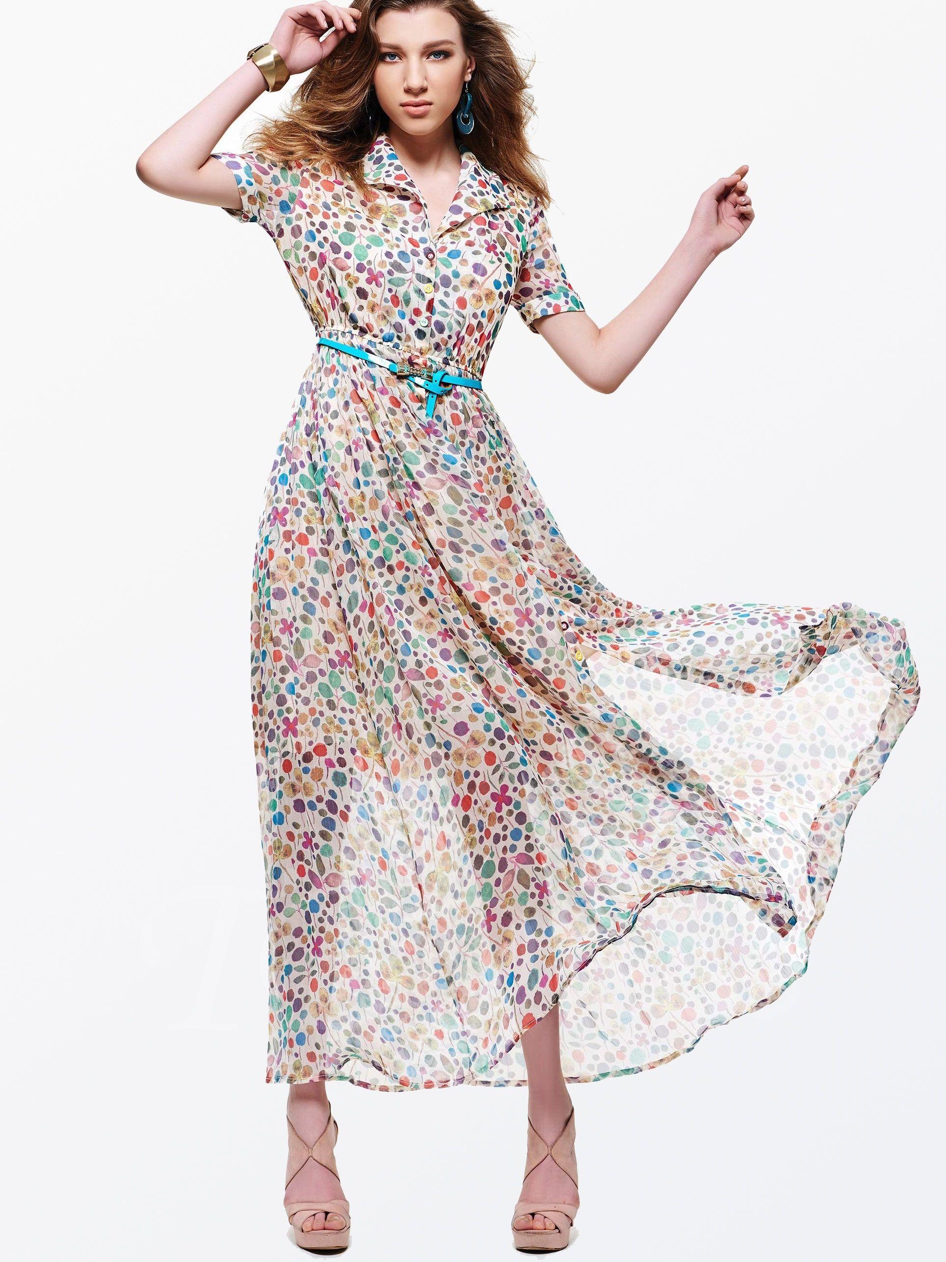 Sisjuly Color Block Lapel Womens Maxi Dress Plus Size Available