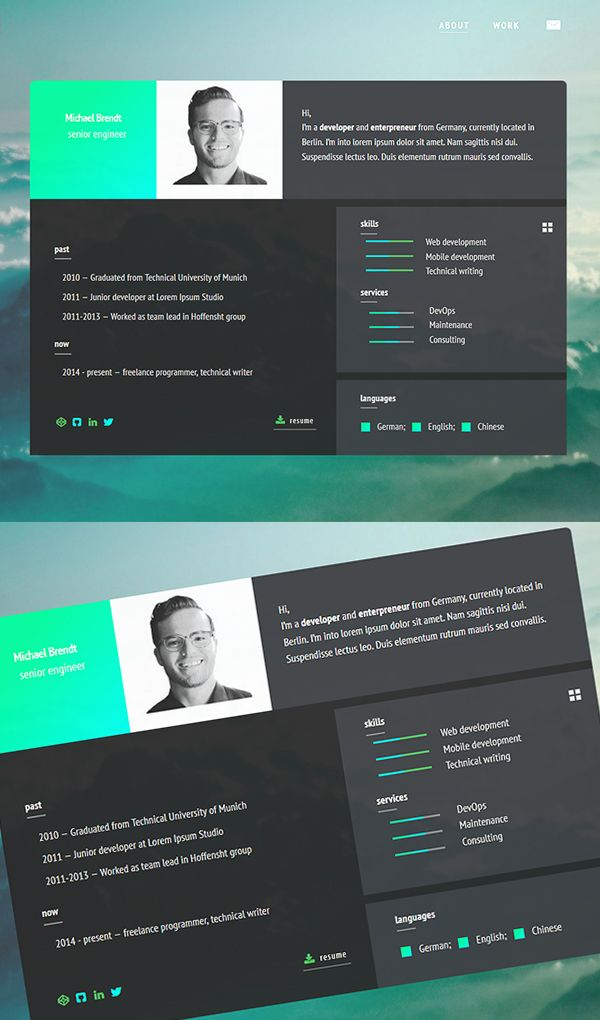 Minimalistic Html Resume Template  Misc    Free