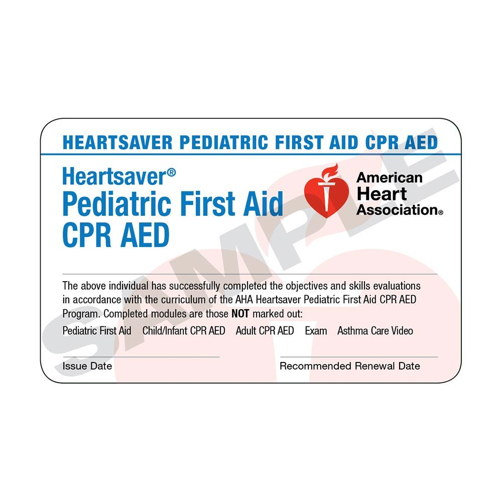 Aha Heartsaver Pediatric First Aid Cpr Aed Course Completion Cards 6 Pack Worldpoint Intended For Cpr Card Temp First Aid Cpr Paediatric First Aid Cpr Card