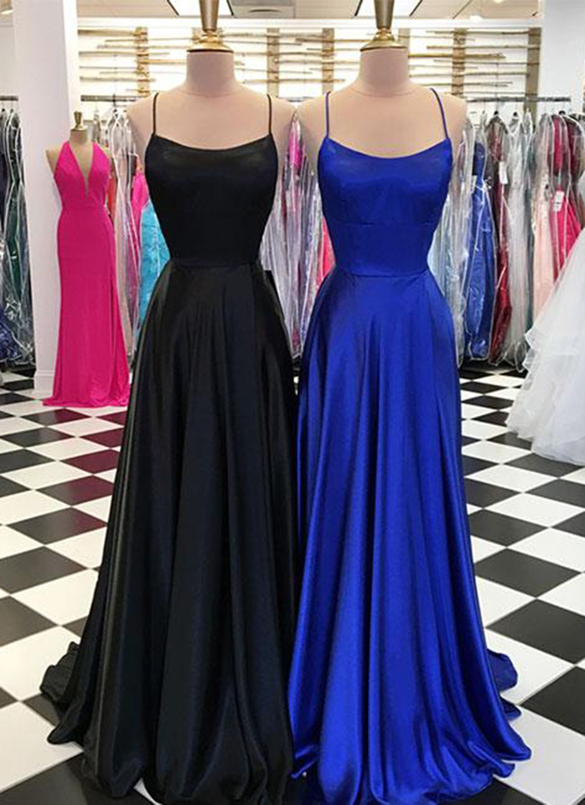 Simple long scoop neck customize prom dress long open back evening