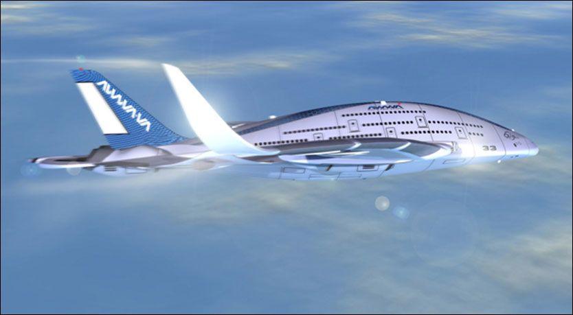 Med tre etasjer og 755 seter mener den spanske designeren Oscar Vinals at AWWA Sky Whale kan være flyet som i fremtiden vil bringe deg ut i verden.