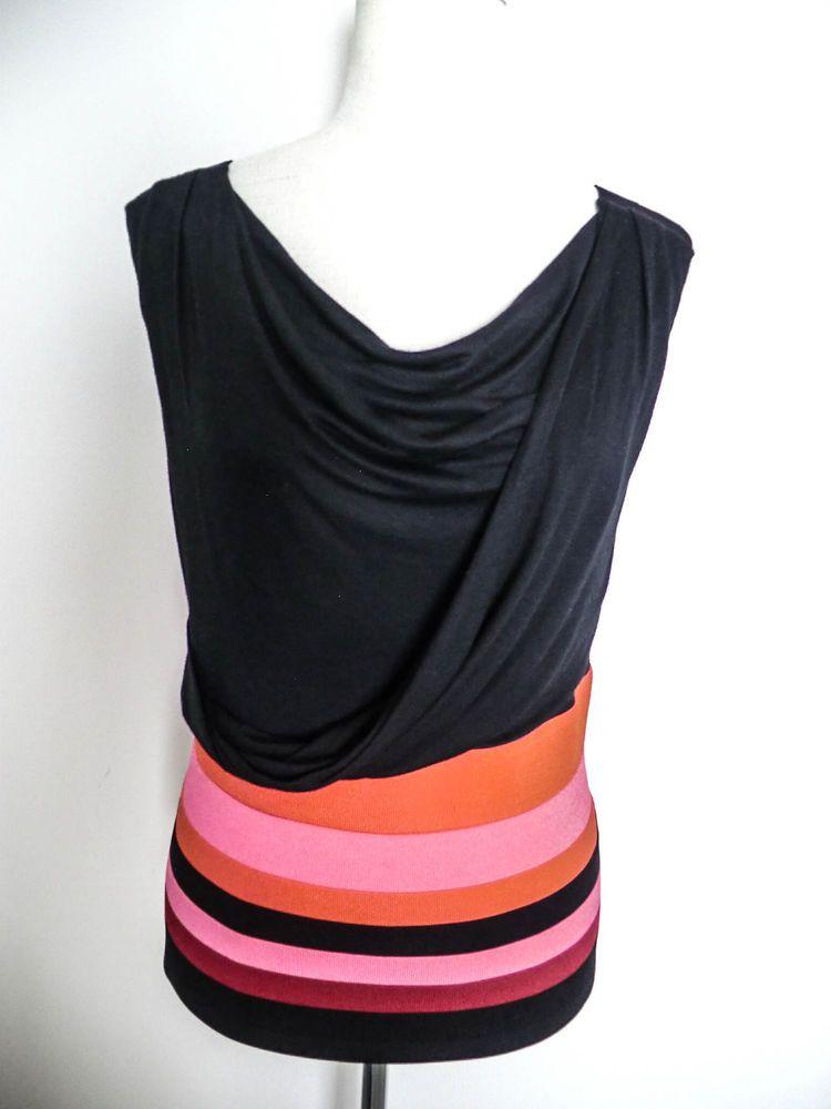 NWOT KAREN MILLEN BLACK LABEL sz 4/L/XL STRIPED DRAPED NECK FRONT TOP #KarenMillen #KnitTop #Any