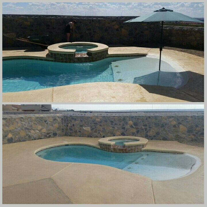 Small Beach Entry Pool I Even Had My Builder Add The Umbrella Stand Beach Entry Pool Backyard Pool Pool Landscaping