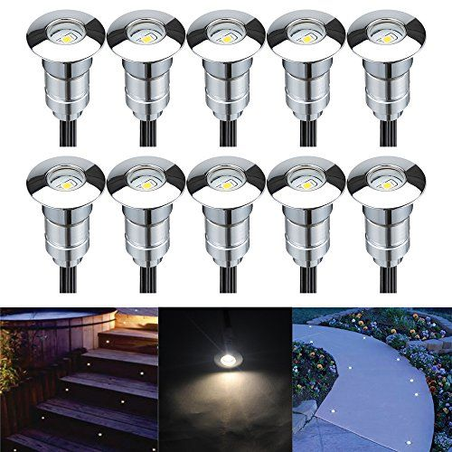 Fvtled Pack Of 10 Outdoor Low Voltage Doubleline Led Landscape Lights Kit 12vdc Waterproof Deck Li Landscape Lighting Kits Led Landscape Lighting Deck Lighting