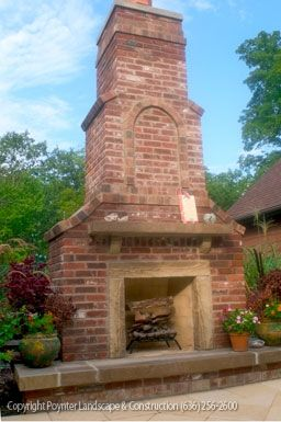 Large Outdoor Brick Fireplace With Stone Hearth Poynter