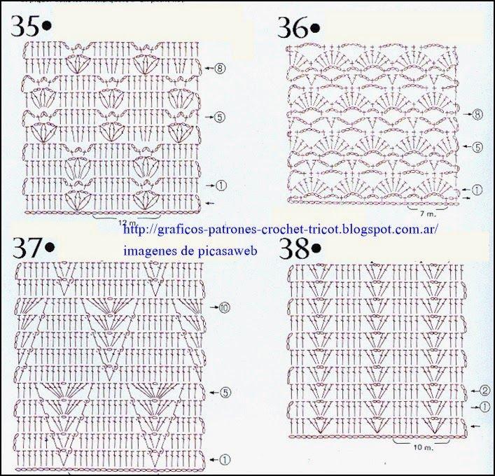 PATRONES=GANCHILLO = CROCHET = GRAFICOS =TRICOT = DOS AGUJAS: PUNTOS ...