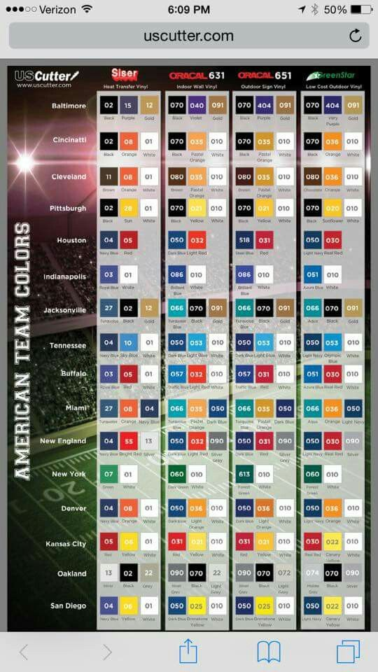 Color Codes Nfl Teams Other Silhouette Creations Nfl
