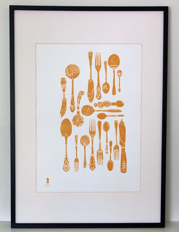 £30 Cutlery Collection in English Mustard - Decorative Screenprint by Little House Printing Press