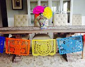 Papel Picado banner 16.6 feet long, colorful paper banner, fiesta decor, Mexican party, fiesta Mexicana, folkloric Mexico, paper mache