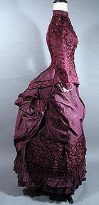 1880s wine silk bustle gown