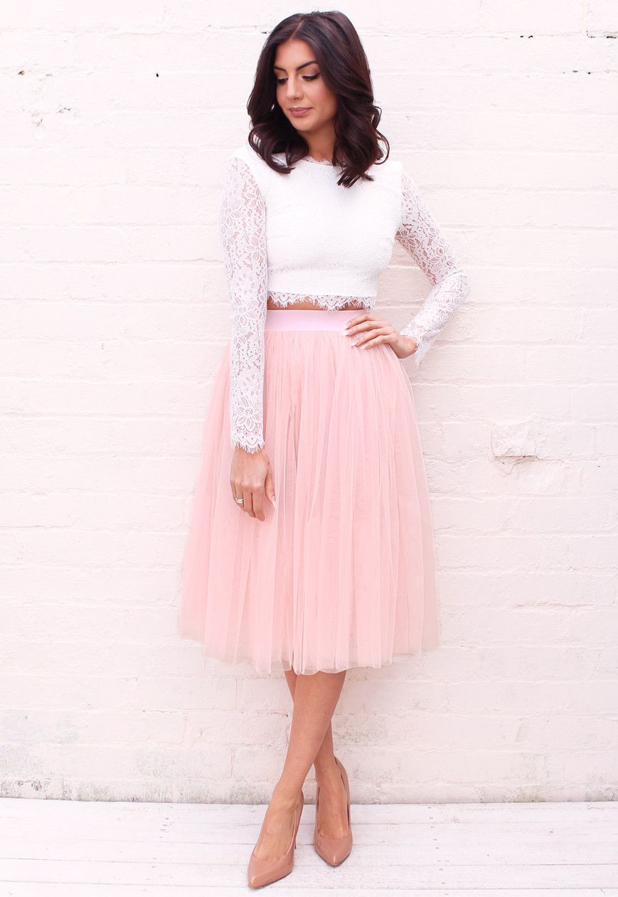 High Waisted Tulle Midi Skirt in Light Dusky Pink