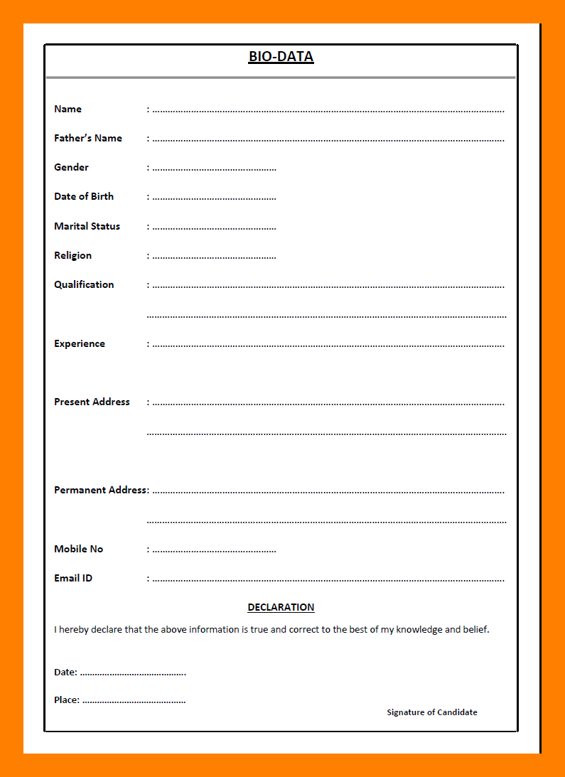 resume bio data pdf