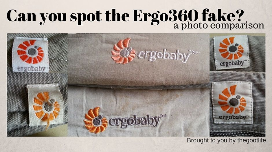 8afa3c903a4 Photographic guide to telling the difference between an original (real) and  counterfeit (fake) Ergobaby 360 sling baby carrier.