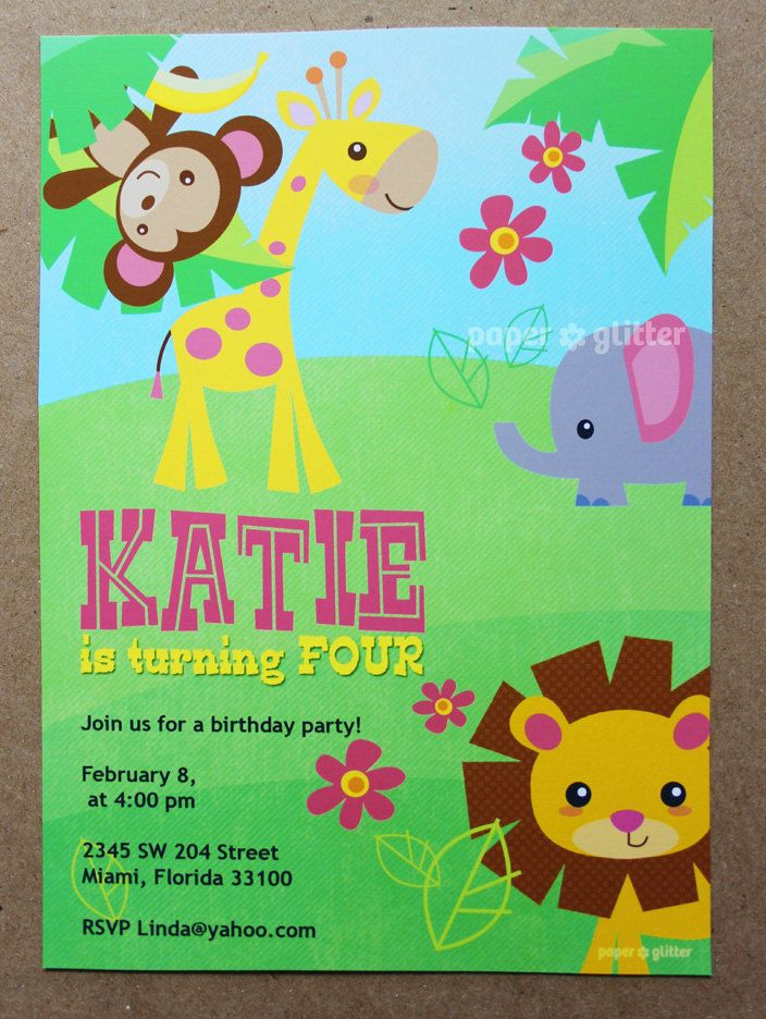 Safari jungle animal zoo party invitation for girly birthday or safari jungle animal zoo party invitation for girly birthday or baby shower invitation card printable pdf or jpg stopboris Choice Image