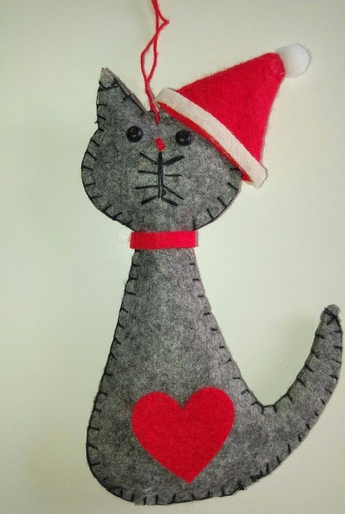 Grey santa cat felt christmas tree decoration love heart - How to make felt christmas decorations ...