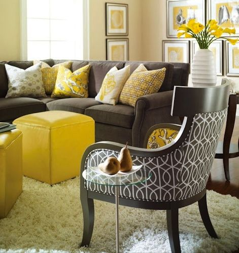 Yellow To My Grey Family Room