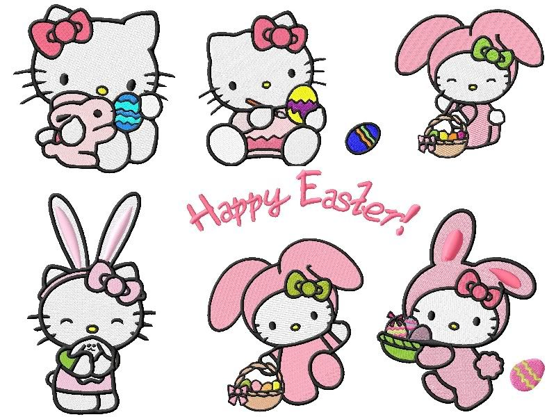 Hello Kitty Dressing Like A Cute Easter Bunny
