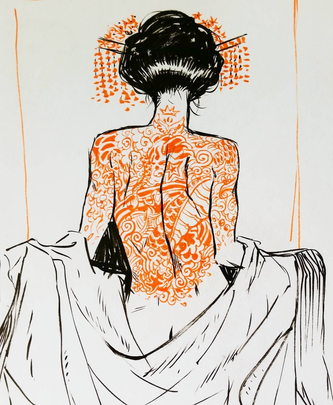 Pinup Arena • Lukaswerneck: Ink Sketch #Gueisha #sketch