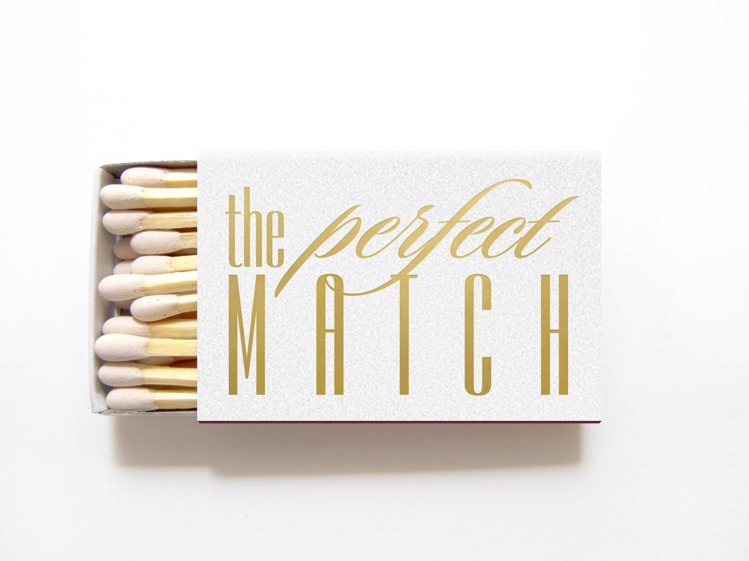 Shimmer White and Gold Custom Match Favors | Custom Matches for 2018 ...