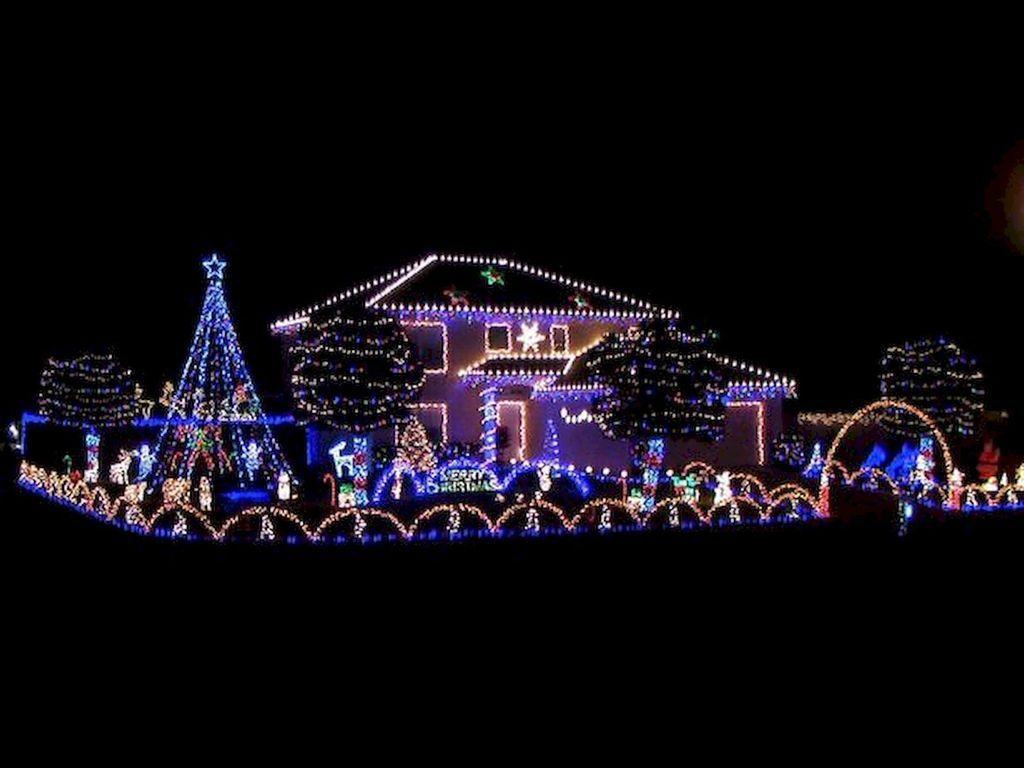47 Awesome Outdoor Christmas Lights House Decorations Ideas Christmas House Lights Christmas Lights Outside Blue Christmas Lights