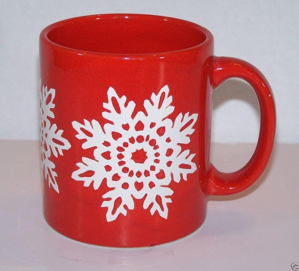 90a96cb1a28 Waechtersbach Red Mug White Snowflake 12 oz 3.75