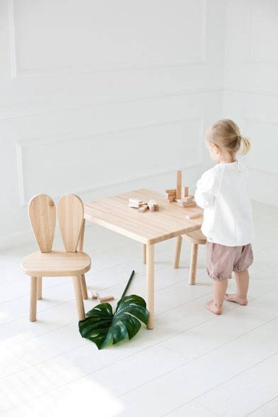 Children S Table And 2 Chairs Natural Wood Chaise Pour