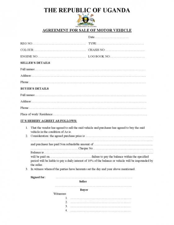 Republic Of Uganda Sample Motor Vehicle Sale Agreement Thekonsulthub Com Motor Car Cars For Sale Uganda