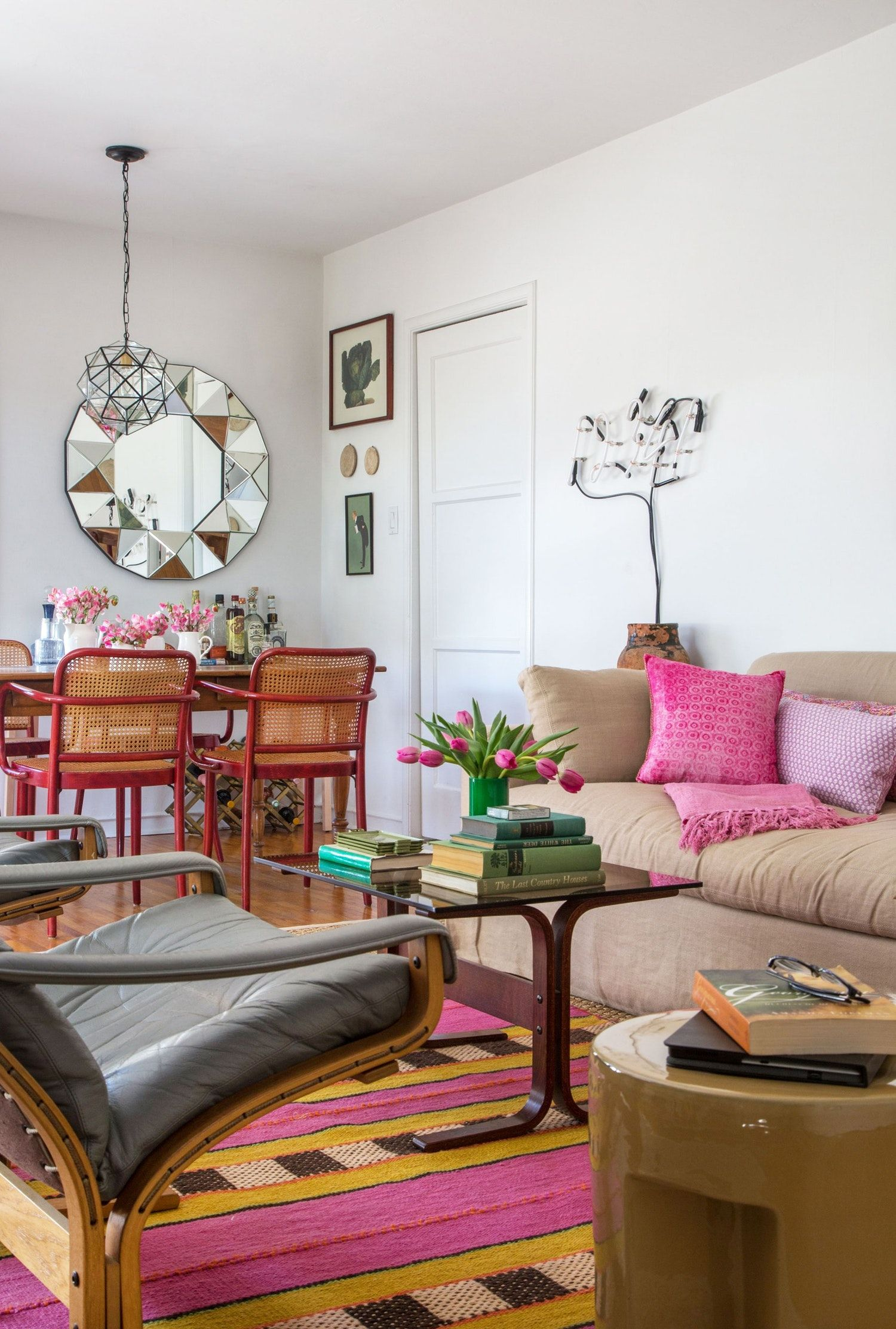 bright colors  cozy textures in west hollywood  home