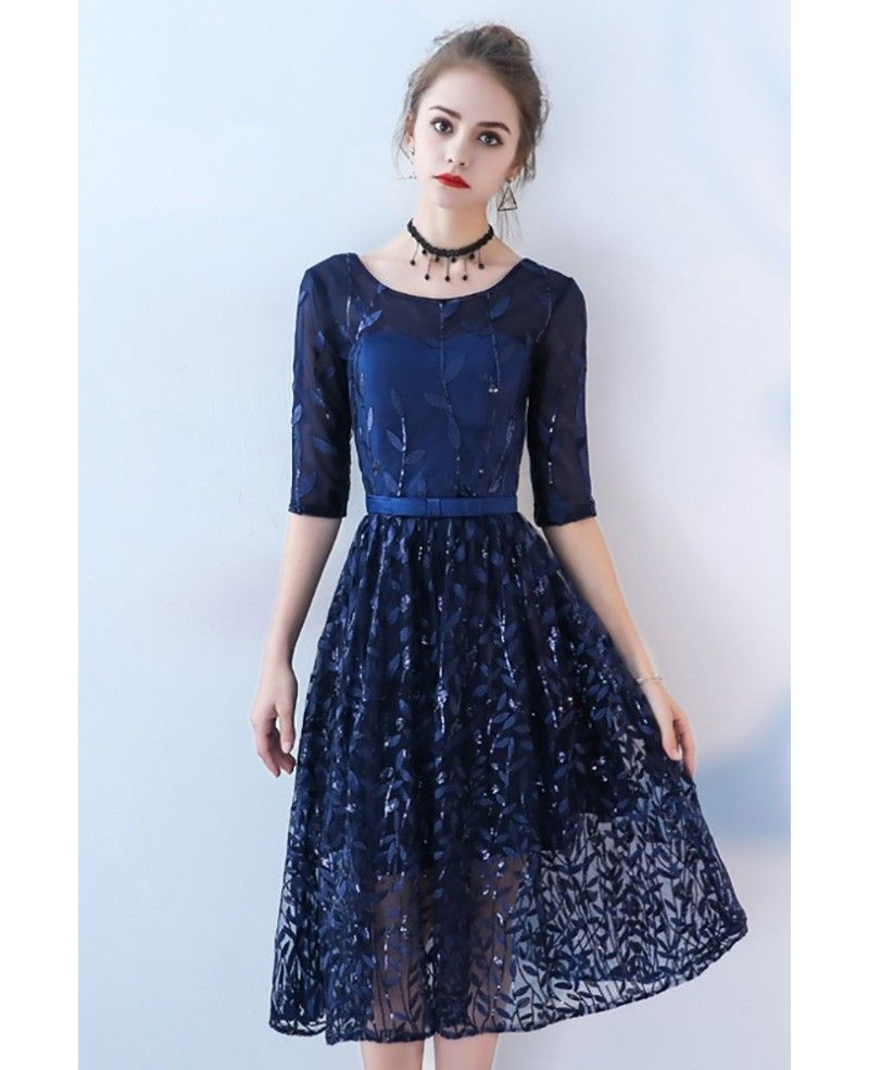 Navy blue sequined tea length party dress with half sleeves