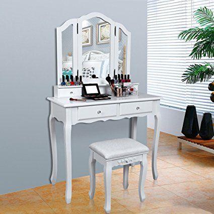 Woltu mb6047ws tavolo da trucco specchiera con specchio sgabello organizer per cosmetici scrivania in legno. Pin Su Mobile Trucchi