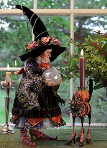 Krinkles Halloween Witch and Candleholder by Patience Brewster at Fiddlesticks