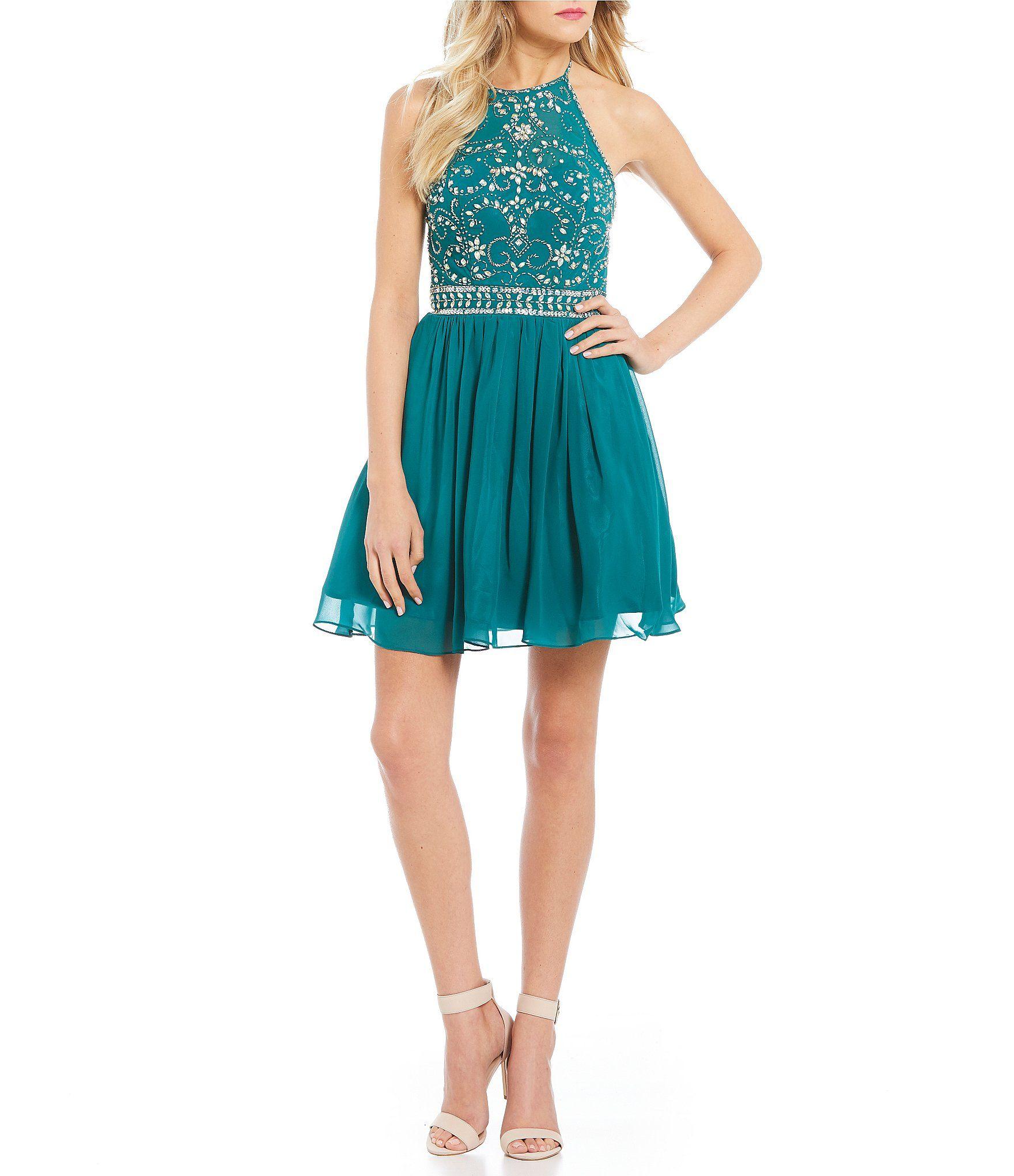 B. Darlin Halter Neckline Beaded Bodice Party Dress | Bodice ...