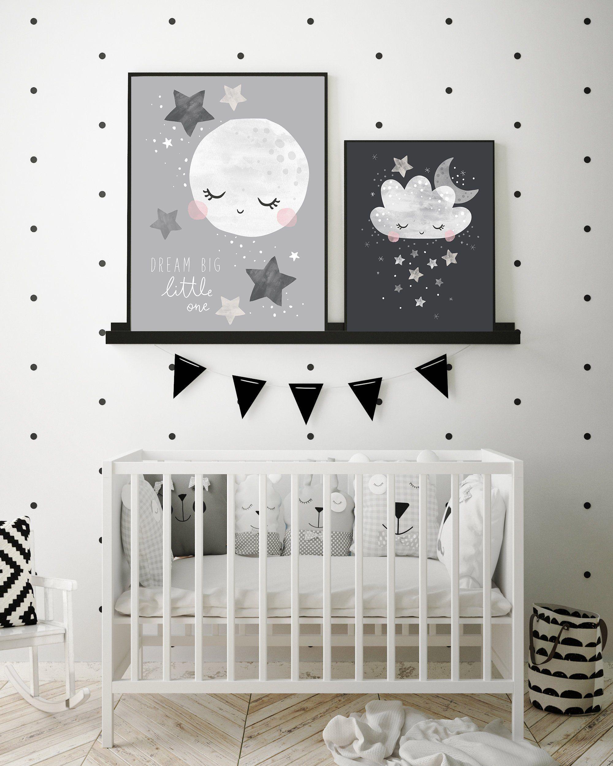 Wall Art Kids Bedroom Whimsical Sky Nursery Print Neutral Baby Room
