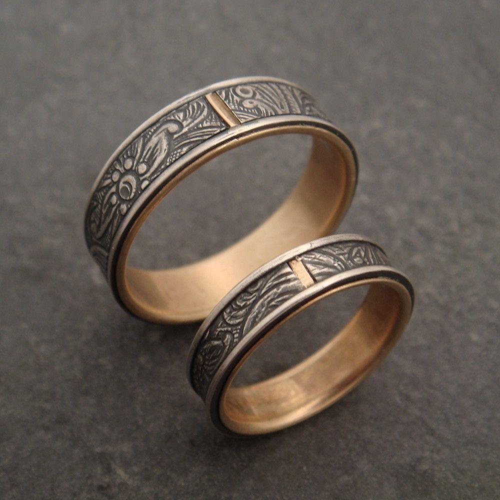 Wedding Band Set 10K Gold Lined Sunflower Rings 40000 via Etsy