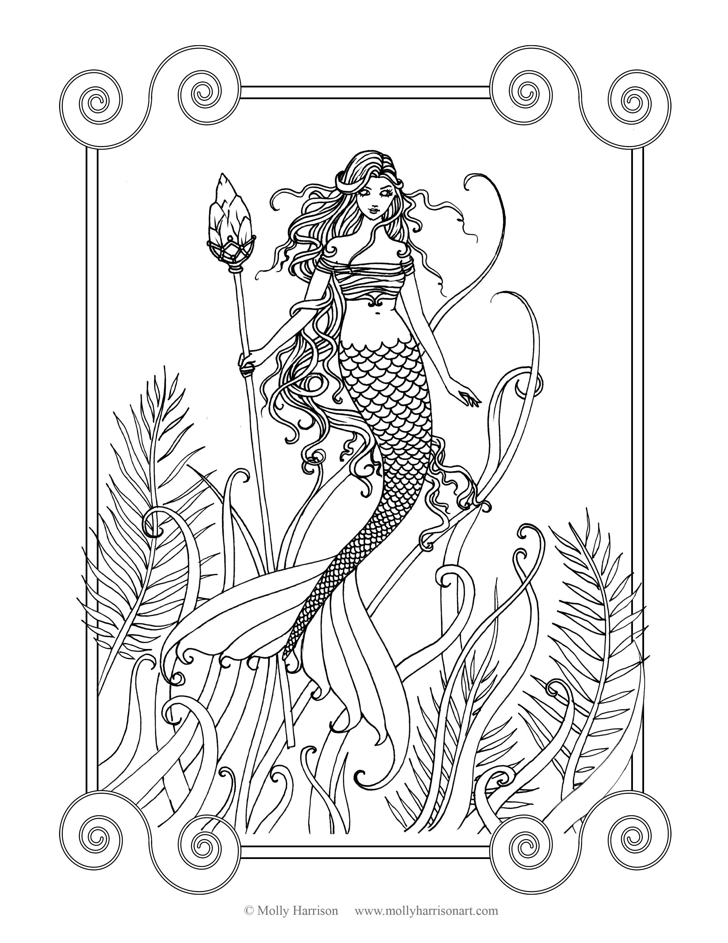 Free Mermaid Coloring Page By Molly Harrison Fantasy Art Amethyst Sea