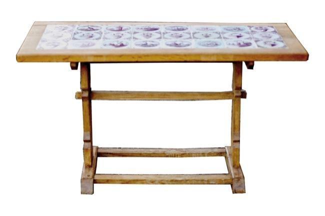 esstisch couchtisch antik mit delfter fliesen m vintage m bel wohnen pinterest. Black Bedroom Furniture Sets. Home Design Ideas