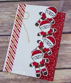 Tumbling Santa Card Made Using Cookie Cutter Christmas from Stampin' Up! UK - buy yours here #stampin#39;up!cards