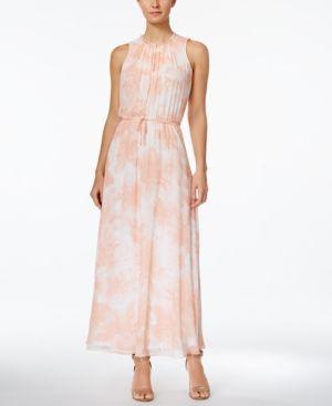 f96c46ede63 Calvin Klein Floral-Print Chiffon Maxi Dress - Blue 12