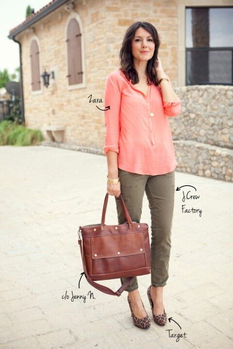 72cbb5a6e20b Rose top, army green pants and leopard shoes | Outfit Ideas - Work ...