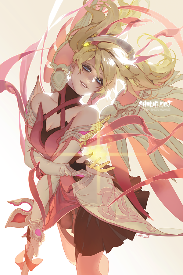 Pink Mercy By Https Www Deviantart Com Shilin On Deviantart Overwatch Drawings Overwatch Wallpapers Overwatch Fan Art