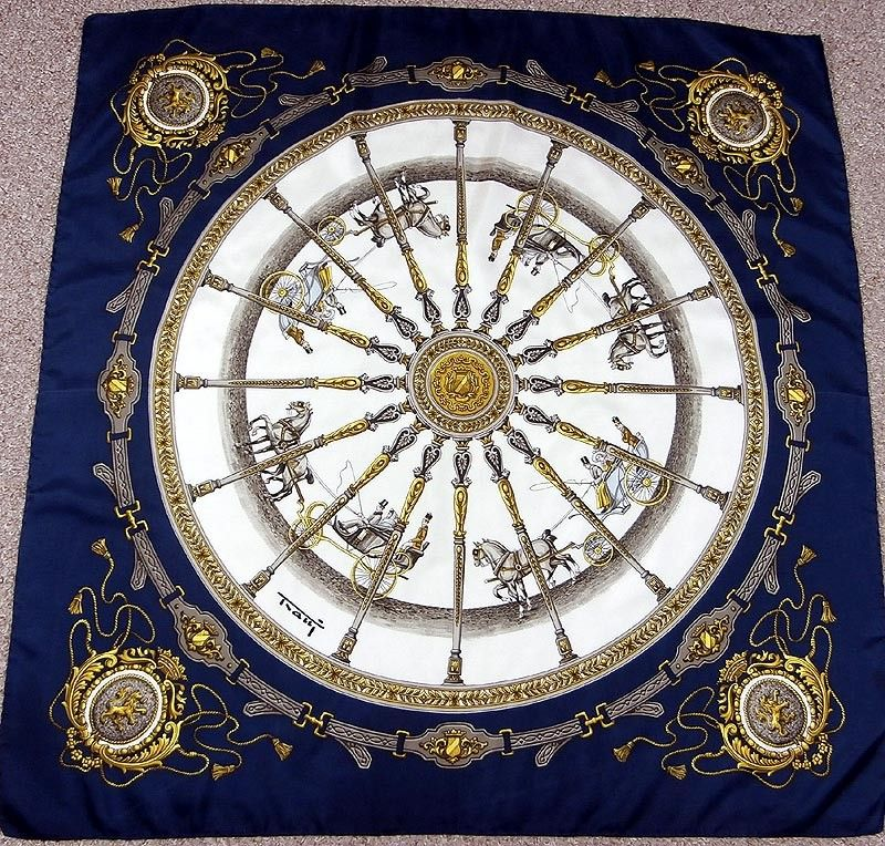 Tratti Horse & Carriages In Edwardian Times Vintage Italian Silk Scarf