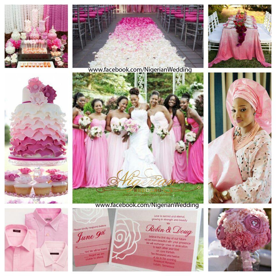 Pink ombre wedding color scheme