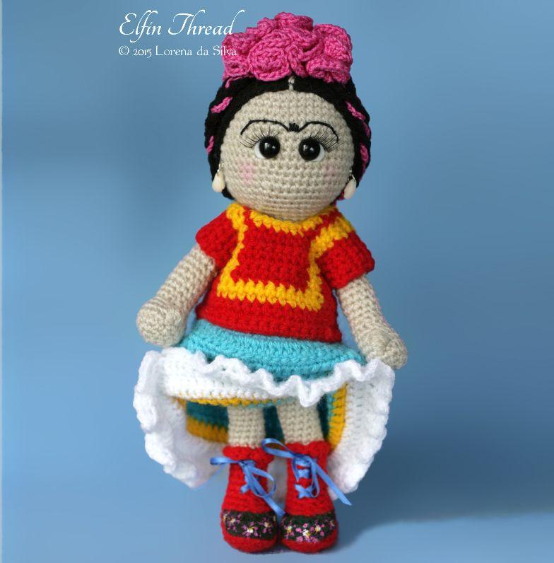 Frida Kahlo Doll Amigurumi Pattern by Elfin Thread