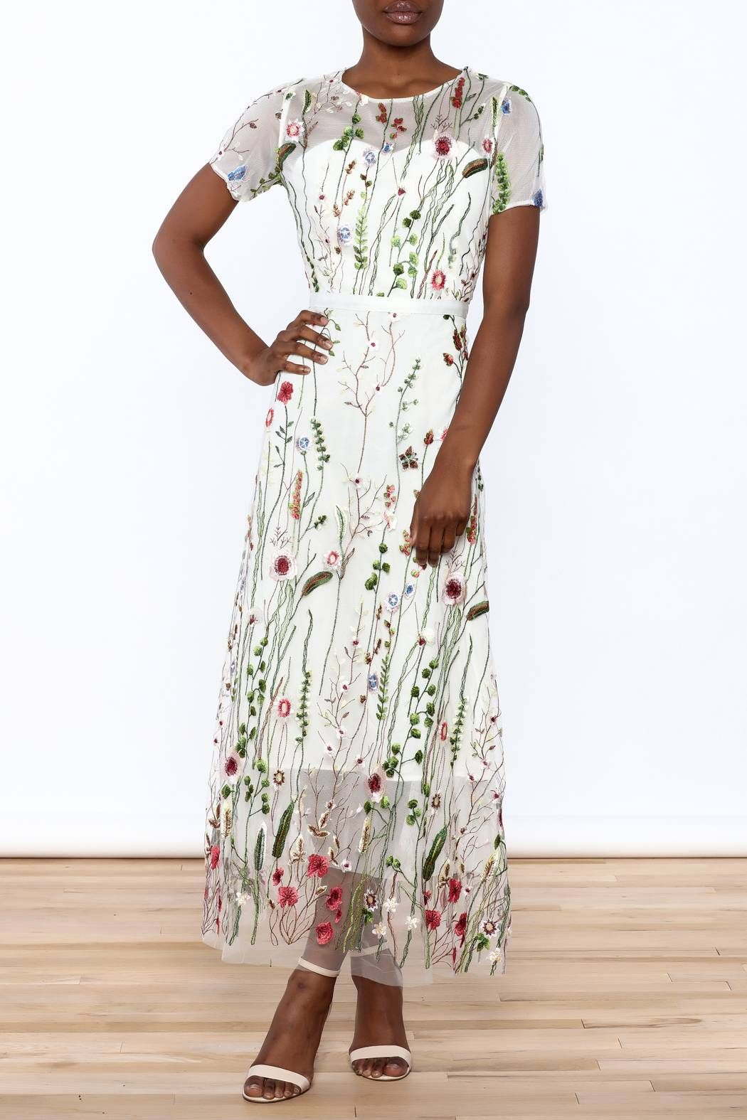 Mesh Embroidered Dress Embroidered Mesh Dress Short Sleeve Maxi Dresses Summer Maxi Dress Floral